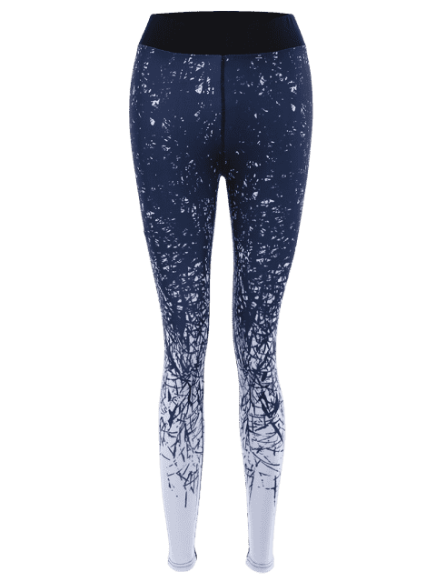 ladies Abstract Print Stretchy Yoga Leggings - COLORMIX L Mobile