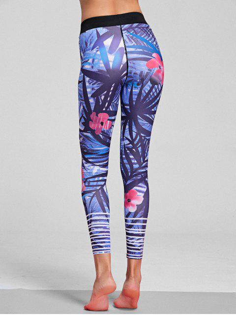new Floral Patterned Stretchy Yoga Leggings - FLORAL L Mobile