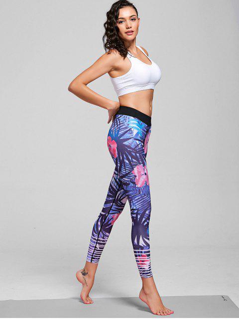 hot Floral Patterned Stretchy Yoga Leggings - FLORAL M Mobile