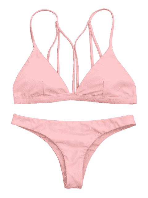 outfits Padded Back Strappy Bathing Suit - SHALLOW PINK S Mobile