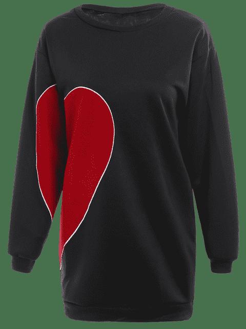fancy Plus Size Long Sleeve Heart Patched Dress - BLACK 3XL Mobile