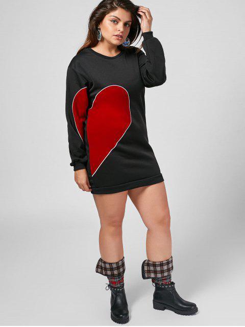 sale Plus Size Long Sleeve Heart Patched Dress - BLACK 5XL Mobile