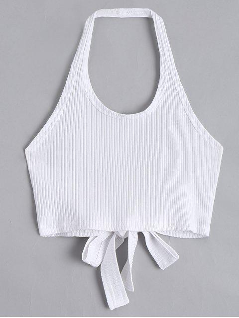 fancy Halter Criss Cross Ribbed Crop Top - WHITE S Mobile