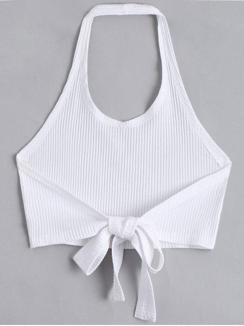 affordable Halter Criss Cross Ribbed Crop Top - WHITE M Mobile