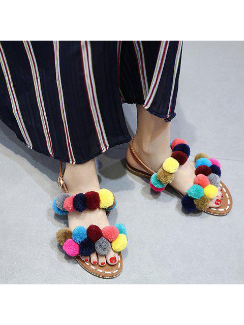 unique Roman Style Pom Pom Flat Sandals - BROWN 37 Mobile
