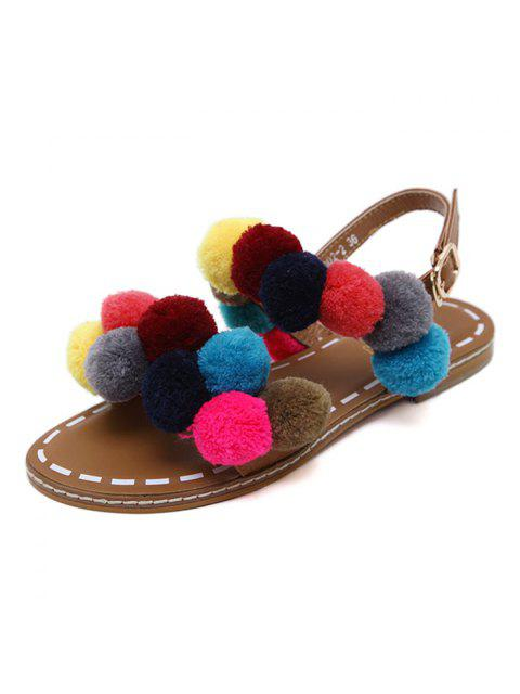 affordable Roman Style Pom Pom Flat Sandals - BROWN 39 Mobile