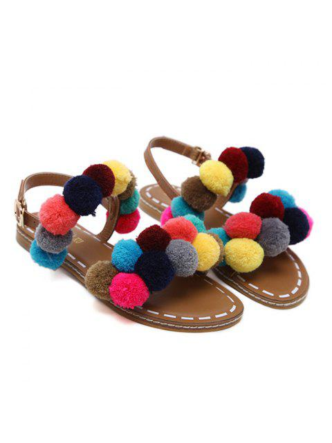 buy Roman Style Pom Pom Flat Sandals - BROWN 40 Mobile