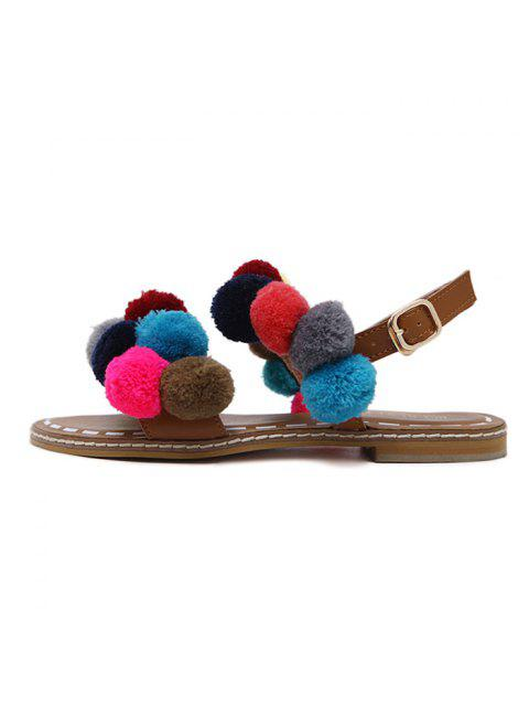 womens Roman Style Pom Pom Flat Sandals - BROWN 41 Mobile