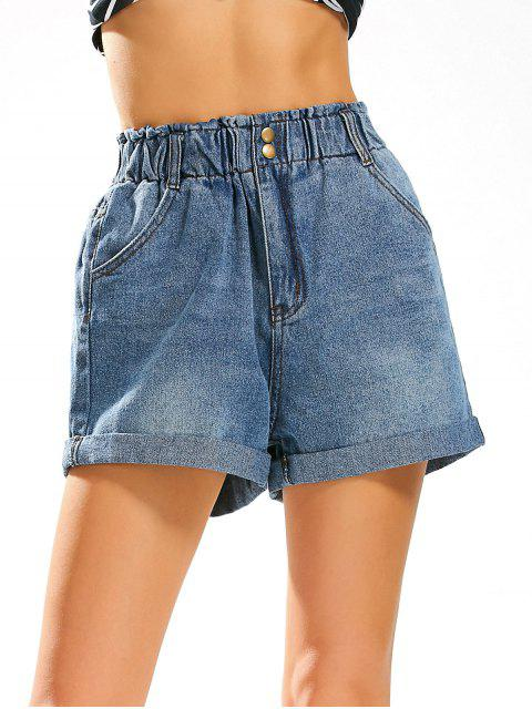 sale Boyfriend Style Jean Shorts with Elastic High Waist - DENIM BLUE XL Mobile