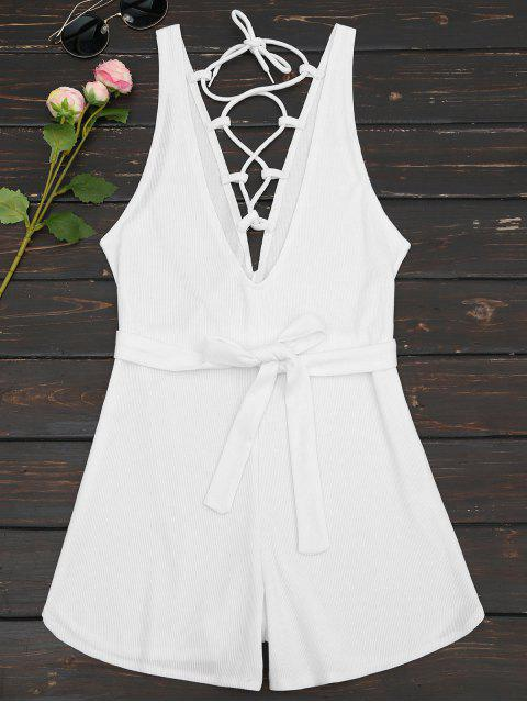 ladies Plunging Neck Lace Up Belted Romper - WHITE L Mobile