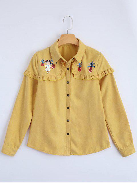Knopf Oben Gedrucktes Rüschen Saum Shirt - Gelb S Mobile