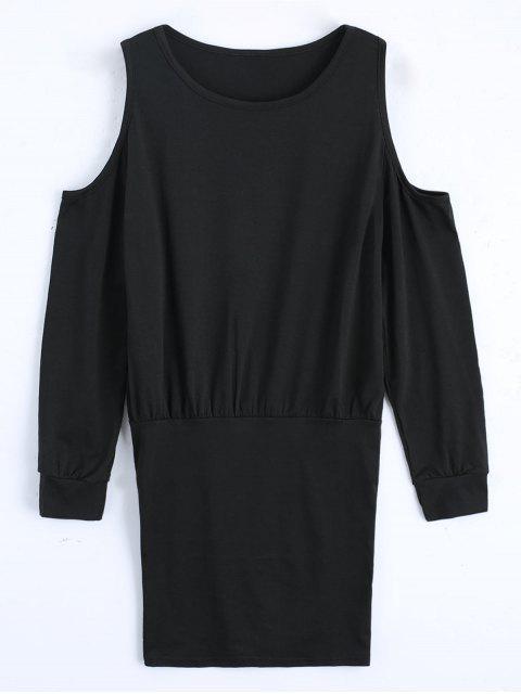 Hombro frío vestido de manga larga mini - Negro S Mobile