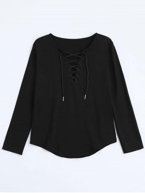 Schnürung Langarm Plunge T-Shirt - Schwarz L Mobile