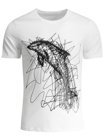 Mens Graffiti Dolphin Graphic Jersey Tee - White Xl