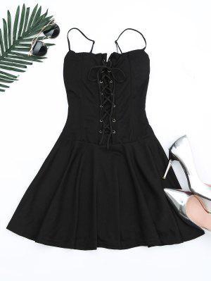 Lace Up Cami Flare Dress - Noir