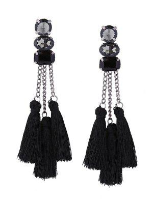 Rhinestone Tassel Chain Earrings - Black