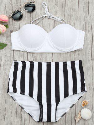 Bikini à Haute Taille à Rayures Moulé Underwire - Rayure M