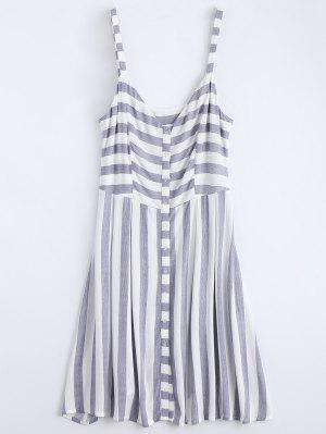 Button Up Stripes Casual Dress - Stripe S