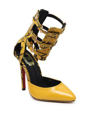 Buckle Straps Tassels Snake Print Pumps - Yellow 37