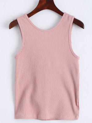 Twist Ribbed Cut Out Tank Top - Rosa S
