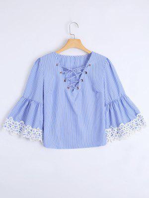 Stripes Lace Trim Lace Up Blusa - Listras L
