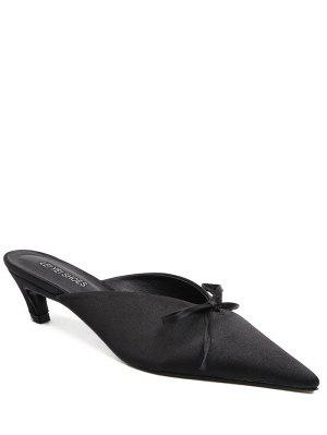 Pointed Toe Bow Satin Slippers - Black 39