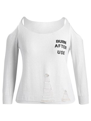 Plus Size Cold Shoulder Letter Ripped Knitwear - White - White 2xl