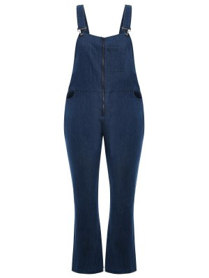 Plus Size Front Zipper Denim Overalls