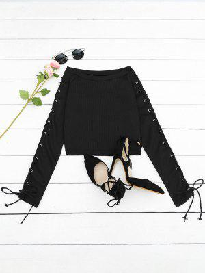 Lace Up Ribbed Knitted Tee - Black M