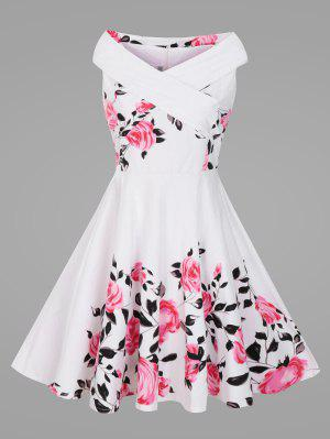 Criss Cross Plus Size Floral Retro Pin Up Dress