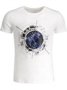 Kurzarm T-Shirt Mit Rundhalsausschnitt Und Grafik - Weiß 2xl