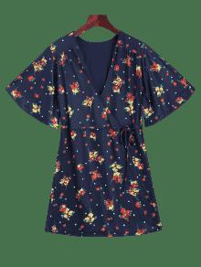 M 250;reo De Purp Floral Abrigo Vestido Mini Azul vF0wSpxq