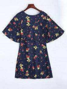 Azul Mini Purp Vestido De Floral Abrigo qaRSpU