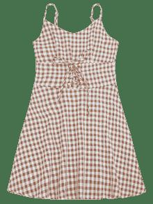 Checked Una L Vestido Comprobado Lace Up M 237;nea 4fq5x5wnZ