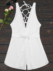 Plunging Neck Lace Up Belted Romper - White M