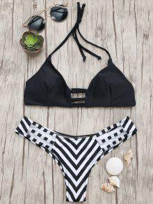 Buy High Cut Ladder Striped Bikini - BLACK M
