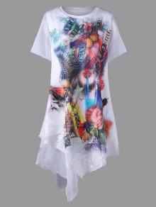 الجمال طباعة الطبقات اللباس غير المتماثلة - أبيض 2xl