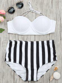 Striped Moulded Underwire High Waisted Bikini - Stripe M