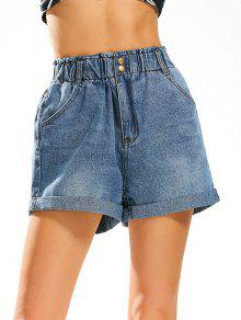 Buy Boyfriend Style Jean Shorts Elastic High Waist - DENIM BLUE M