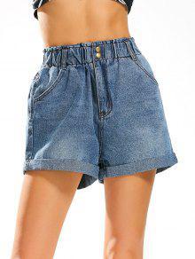 Buy Boyfriend Style Jean Shorts Elastic High Waist - DENIM BLUE L