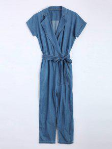 Belted Straight Denim Jumpsuit - Denim Blue S