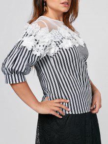 Floral Applique Mesh Yoke Plus Size Top - White And Black 4xl