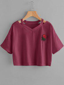 Loose Floral Embroidered Cold Shoulder Top - Purplish Red S