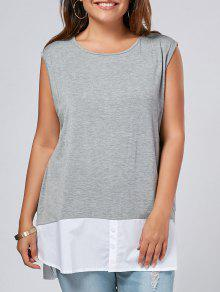 Side Slit Plus Size Two Tone Top - Gray 3xl