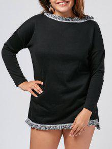 Plus Size Fringed Sweater Dress - Black Xl