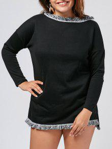 Plus Size Fringed Sweater Dress - Black 4xl