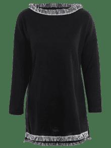plus size fringed pullover kleid schwarz kleider 4xl zaful. Black Bedroom Furniture Sets. Home Design Ideas