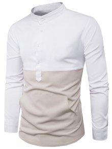 الوقوف طوق اللون كتلة لوحة الجبهة جيب قميص - أبيض M