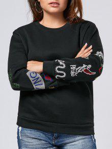 Plus Size Embroidered Sleeve Fleece Sweatshirt - Black Xl