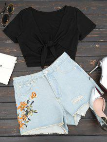 Destroyed Cutoffs Floral Embroidered Denim Shorts - Denim Blue L